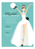 Blue Brunette Here Comes The Bride! Invitation