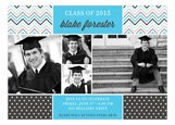Blue Chevron Dots Grad Photo Card