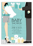 Blue Classic Couple Baby Shower Invitation