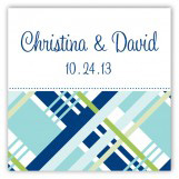 Blue Classic Plaid Square Sticker