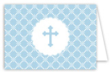 Blue Cross Iron Scroll Folded Note Card