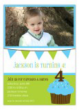 Blue Cupcake Banner Photo Birthday Invitations