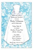 Blue Damask Bridal Invitations