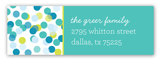 Blue Falling Confetti Address Label