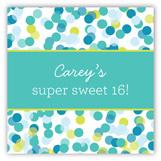 Blue Falling Confetti Gift Tag