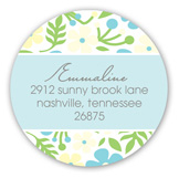 Blue Floral Heart Baby Shower Round Sticker