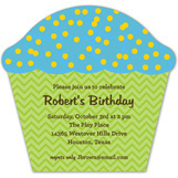Blue + Green Cupcake Invitation