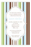 Blue Green Stripes Invitation