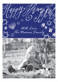 Blue Hanukkah Chalkboard Photo Card