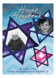 Blue Hanukkah Stars Photo Card