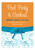 Blue Hawaii Pool Party Invitation