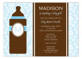 Blue Monogram Baby Bottle Invitation
