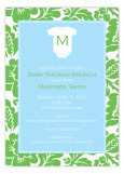 Blue Monogram Onesie Invitation