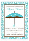 Blue Monogram Umbrella Invitation