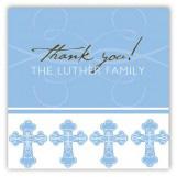 Blue Ornate Cross Square Sticker