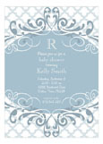 Blue Ornate Pattern Shower Invitations