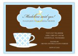 Blue Pattern Tea Cup Invitation
