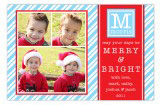 Blue Peppermint Stripes Initial Photo Card