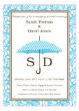 Blue Pinstripe Monogram Umbrella Shower Invitations