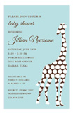 Blue Pom Pom Giraffe Invitation