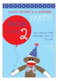 Blue Sock Monkey With Balloon Invitation