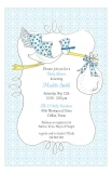 Blue Stork Boy Baby Shower Invitation