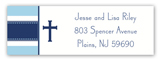 Blue Stripe Cross Address Label