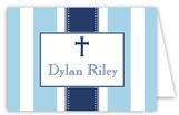 Blue Stripe Cross Folded Note Card
