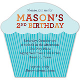 Blue Striped Cupcake Invitation