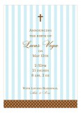 Blue Stripes and Cross Invitation