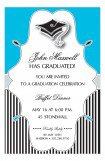 Blue Stripes Graduation Cap Invitation