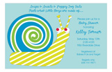 Blue Swirly Snail Invitation