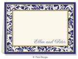 Blue Taffeta Folded Note Card