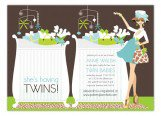 Blue Twins Chic Crib Mom Invitation