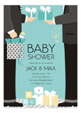 Blue Two Dads Classic Couple Baby Shower Invitation