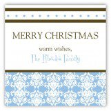 Blue Winter Damask Square Sticker