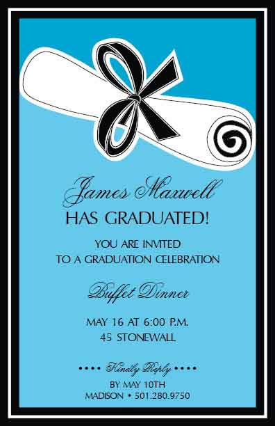 Blue Wrapped Diploma Invitation