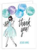 Whimsical Watercolor Balloons Blue Thank You
