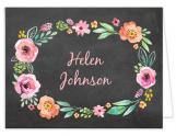 Watercolor Blossom Wreath Chalkboard Thank You