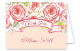 Watercolor Pink Floral Thank You Card