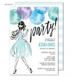 Whimsical Watercolor Balloons Blue Invitation