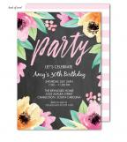 Wonderful Watercolor Blossoms Chalkboard Invitation