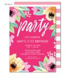 Wonderful Watercolor Blossoms Pink Invitation