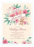 Vintage Pink Banner Baby Shower Invitation for Girls