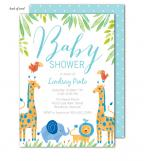 Baby Safari Blue Invitation
