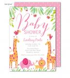Baby Safari Pink Invitation