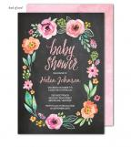 Watercolor Blossom Wreath Chalkboard Invitation