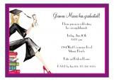 Grad on Books Blonde Invitation