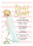 Vintage Bride Stripes Invitation