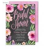 Watercolor Bridal Shower Chalkboard Invitation